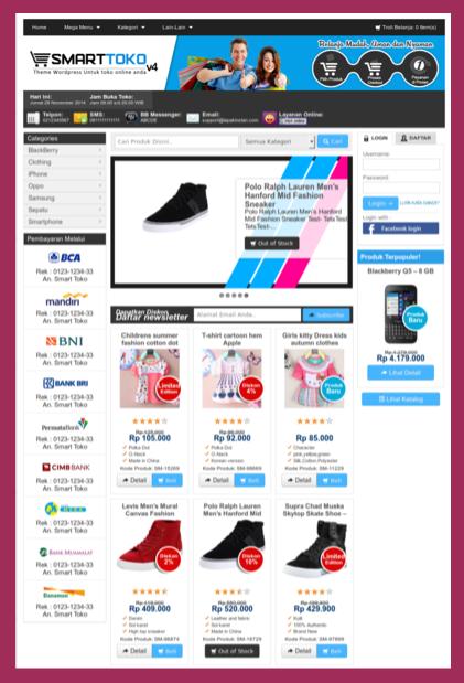 Template toko online dengan invoice email