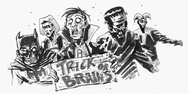 zombie sketch ink black and white halloween