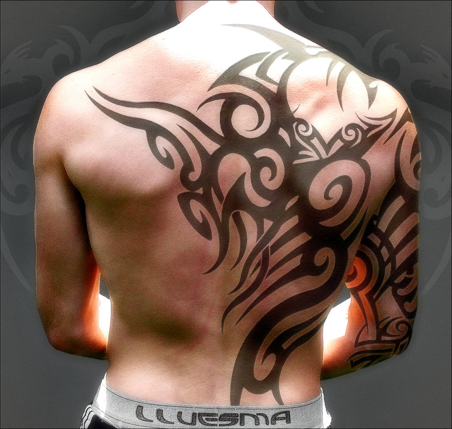 Back tribal moari tattoo