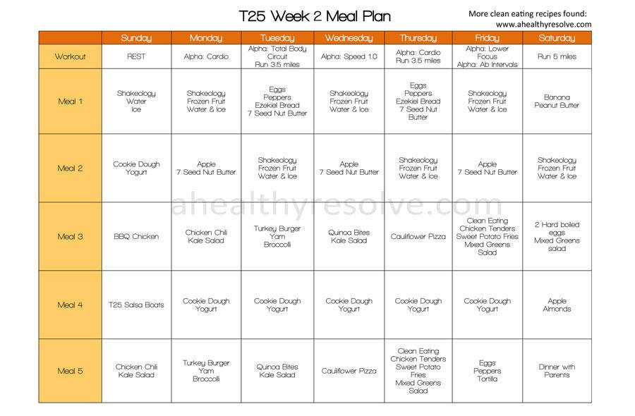 T25 Week 2 Clean Eating Meal Plan