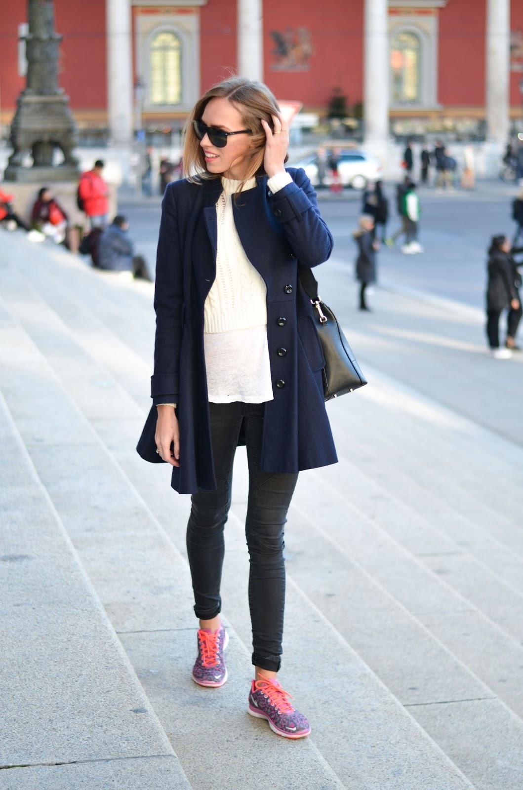 kristjaana mere blue wool coat pink nike trainers outfit