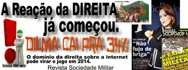 direita reação dilma esquerda internet partido militar pmb