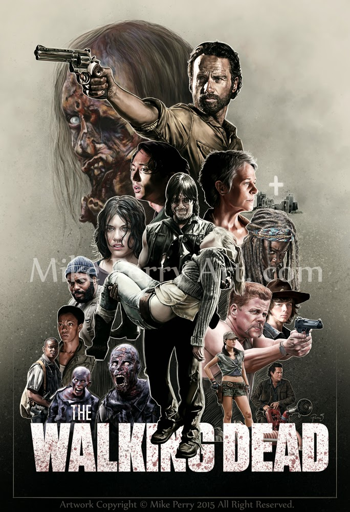 mike perry art com the walking dead season 5 poster process. Black Bedroom Furniture Sets. Home Design Ideas