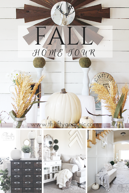 Neutral Fall decor and decorating ideas from Thrifty and Chic's 2015 Fall Home Tour