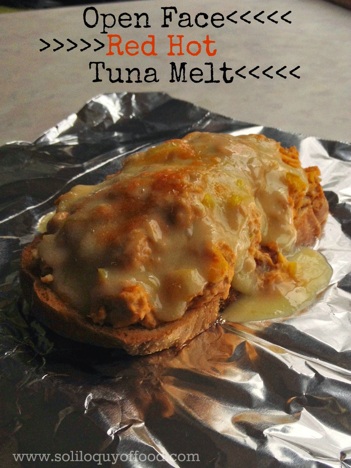 Open Face Red Hot Tuna Melt - Red Hot Ketchup Style sauce and banana peppers add a kick to the same-old, same-old tuna - www.soliloquyoffood.com