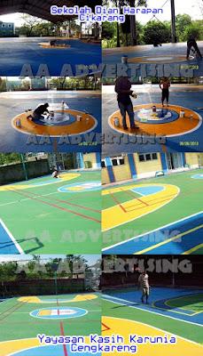 Mempercantik Lapangan Basket, Futsal, Tennis dengan Branding