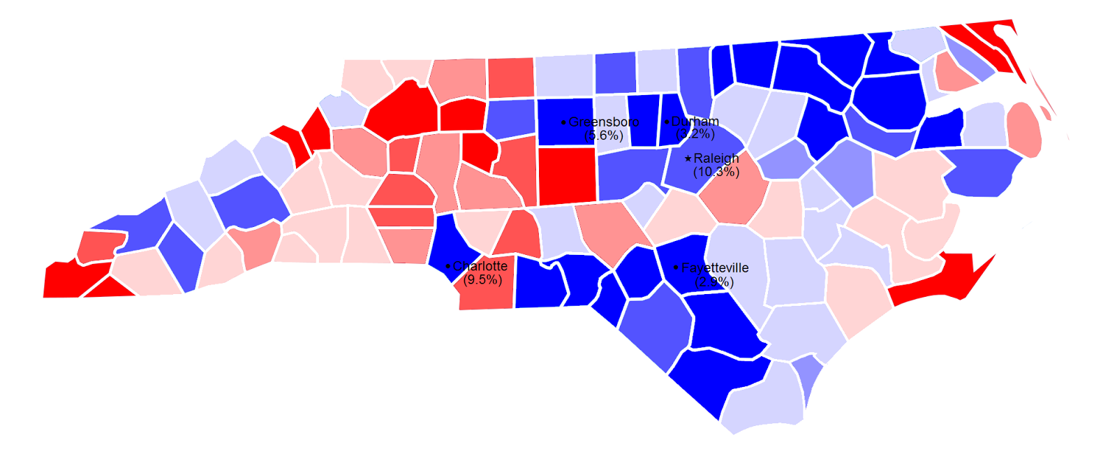 2008 north carolina senate election by county and margin