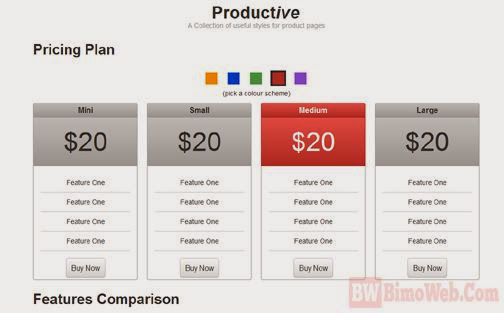 Productive - Boostrap Pricing Table