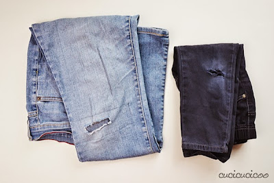 Patch up holes in jeans with fun and colorful reverse appliqué! A Cucicucicoo tutorial for Refashion Co-op!
