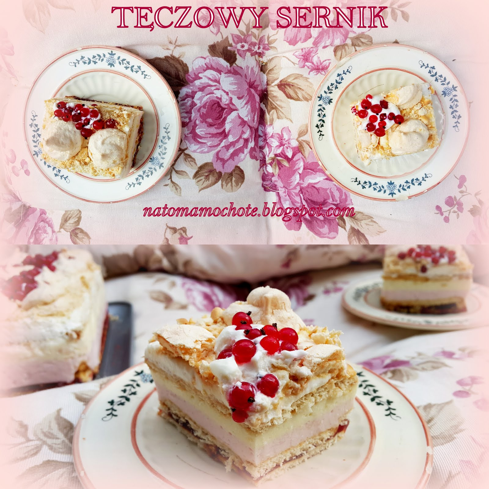 Tęczowy Sernik na Zimno z Porzeczkami i Bezą