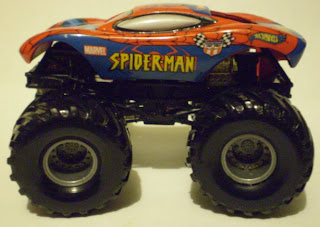Side view of Monster Jam Spider-Man truck
