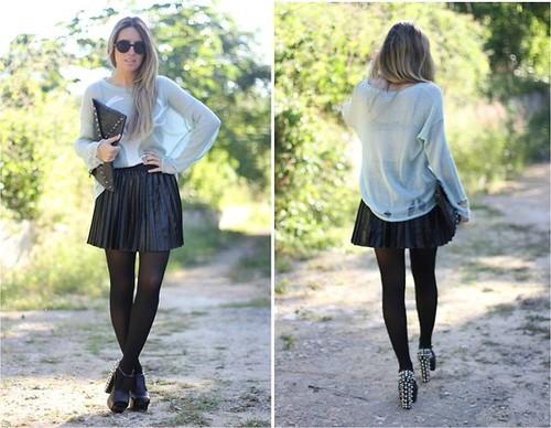 Falda plisada piel blog