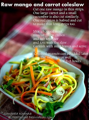 picture recipe | raw mango and carrot coleslaw