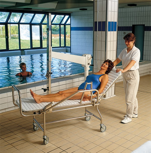 Pool lift stretcher and trolley