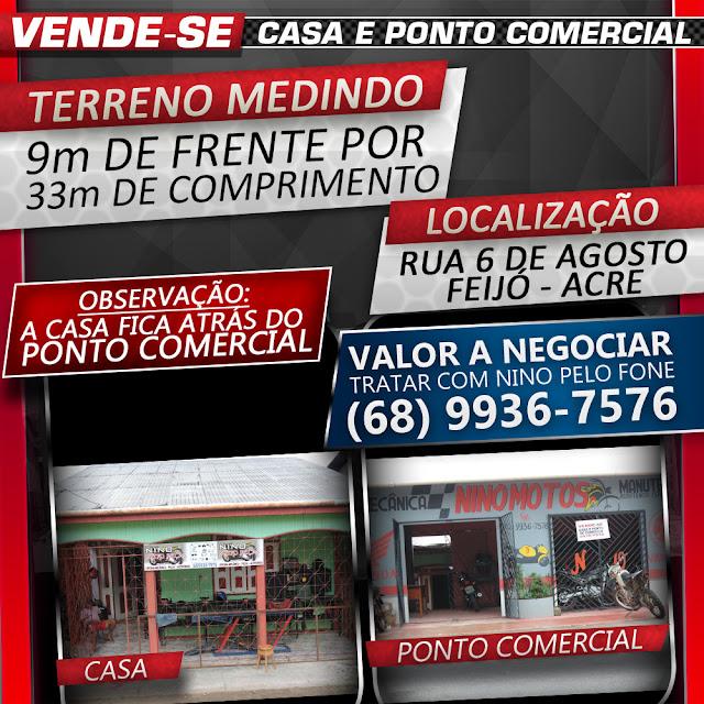 VENDE-SE Casa e Ponto Comercial na Rua 6 de Agosto
