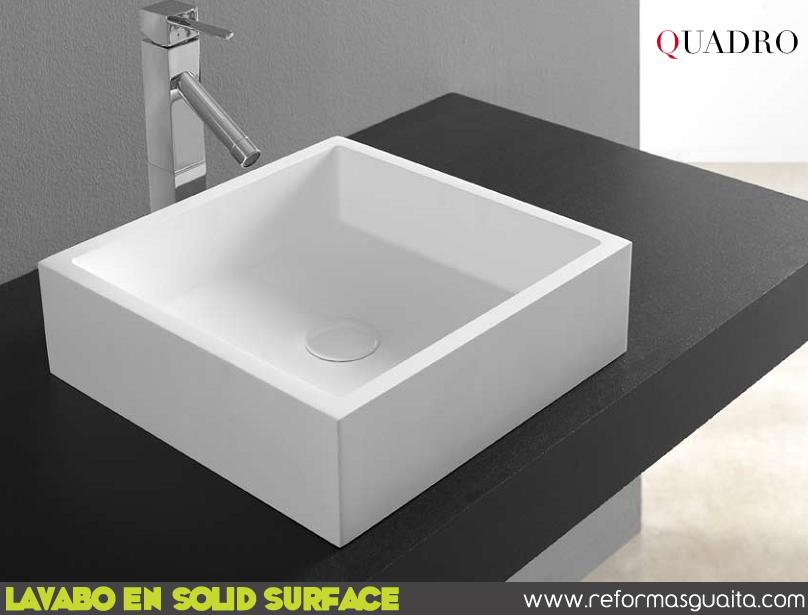 Encimeras Baño Krion:Lavabos SQUARE, CUADRO y ROMA en solid surface ~ Reformas Guaita
