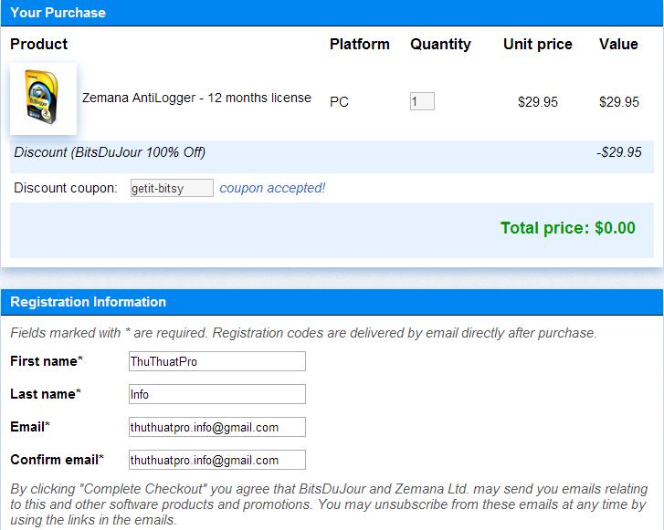 Miễn phí Zemana AntiLogger - Phần mềm chống Keyloggers hiệu quả