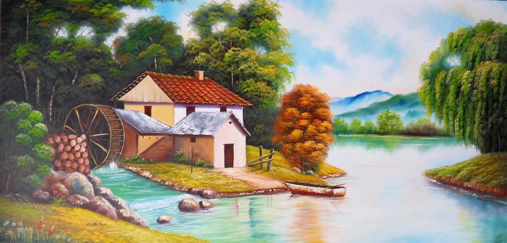 Im genes arte pinturas cuadros de paisajes f ciles para - Paisajes de casas ...