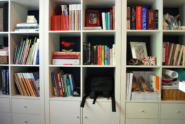 home office tour, IKEA bookshelves
