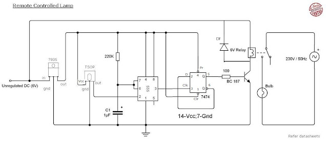 remot+lamp remote control light circuit diagram using 555 timer circuits 6 PC LED Switch Wiring Diagram at mifinder.co