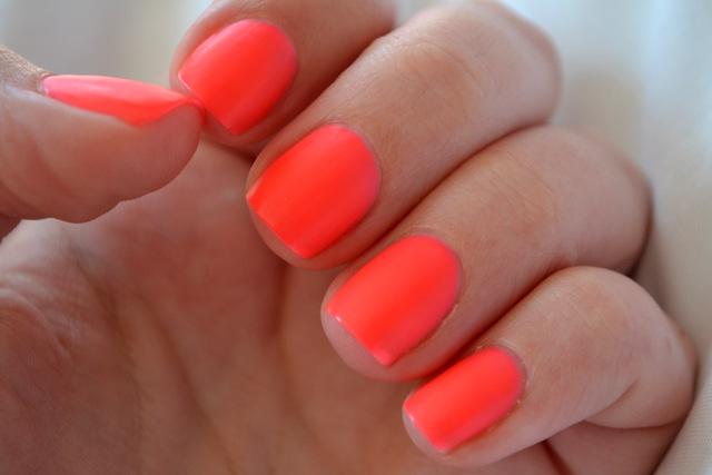 heart studded crosses: Matte Neon Coral Nails