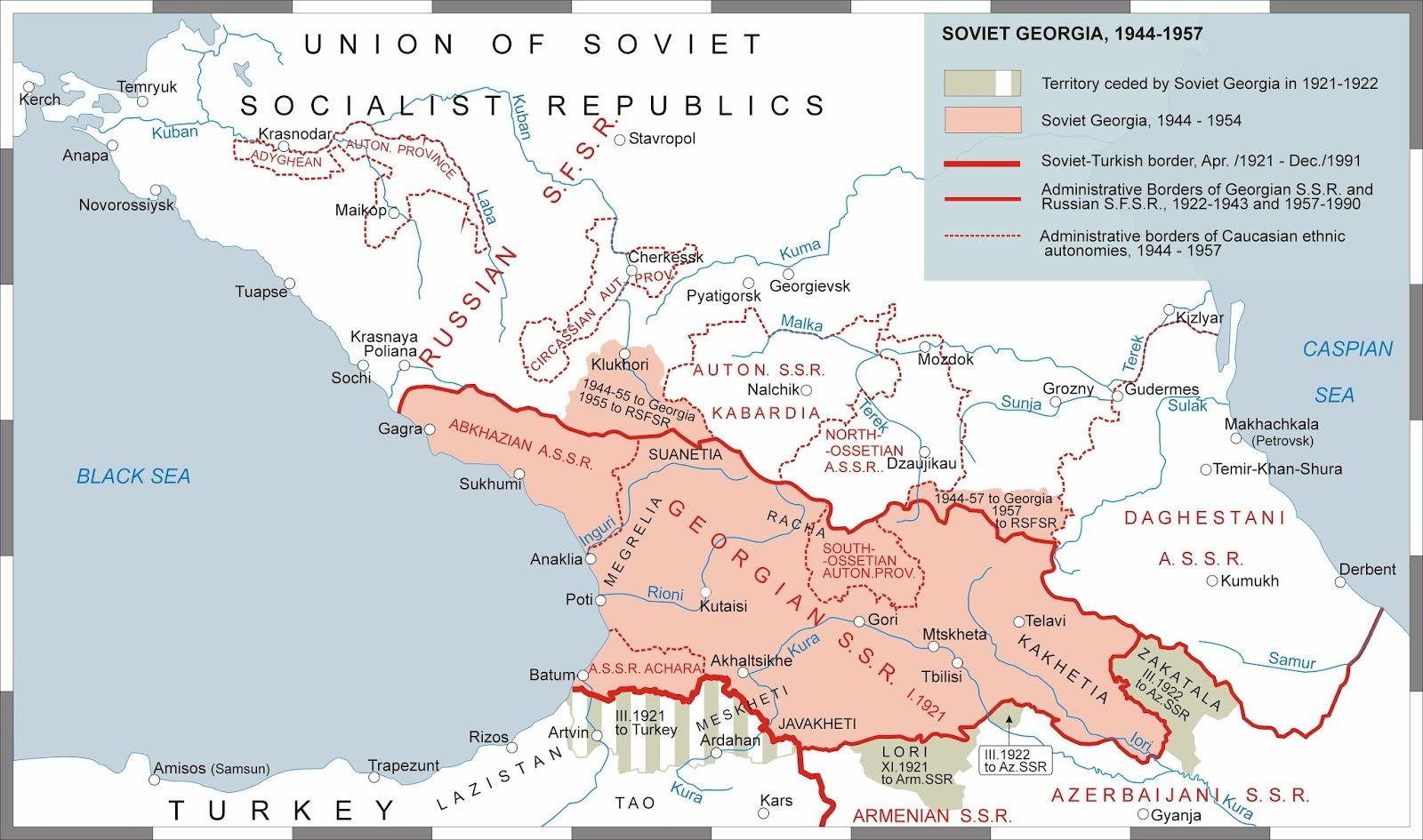 SovietGeorgian War And Sovietization Of Georgia IIIII - Georgia map 1921