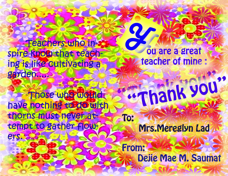Teaching and learning ict thank you card for world teachers day here are the thank you cards designed by my ict 2 students in mnhs they used adobe photoshop cs3 in designing the thank you card for world teachers day spiritdancerdesigns Images
