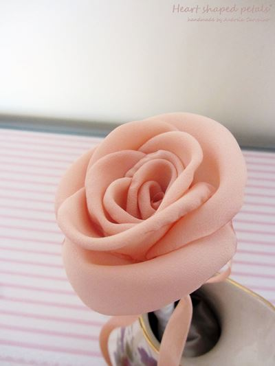 Salmon pink fabric rose