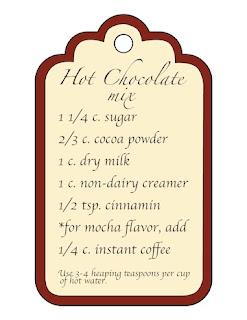 "5""x 3"" Hot chocolate mix gift tag.  ©2015 Tina M Welter  www.tinawelter.blogspot.com"