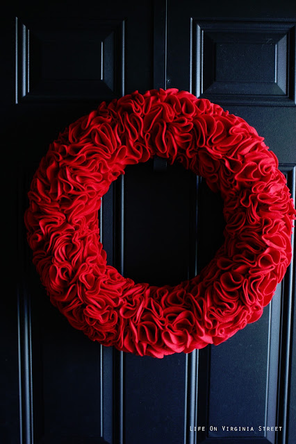 Red Felt Ruffle Wreath - Life on Virginia Street