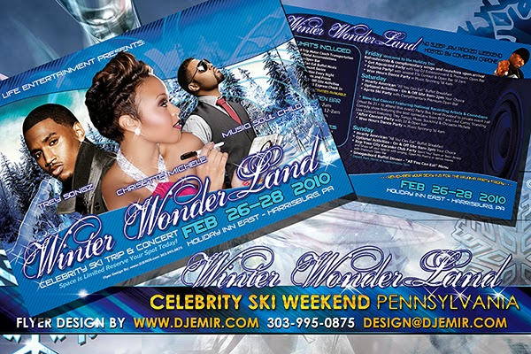 Winter Wonderland Celebrity Ski Weekend Flyer Design Featuring Trey Songz, Chrisette Michelle and Musiq Soulchild
