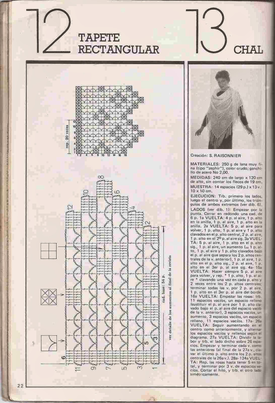 Instrucciones de Chal a Crochet