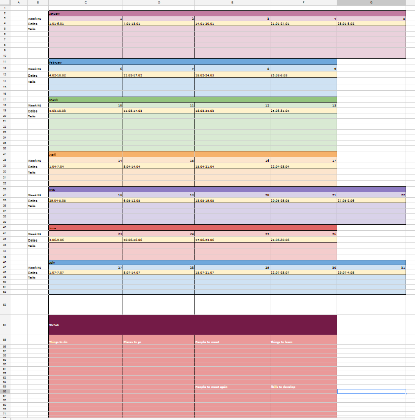 Calendar Year Goals : A template for goals planning njw no journey wasted