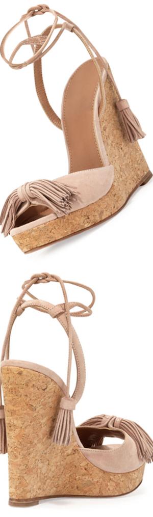 Aquazzura Wild One Tassel Wedge Sandal, Vintage Pink