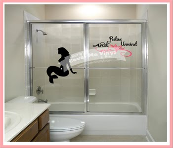 Relax Mermaid Shower Door Decal