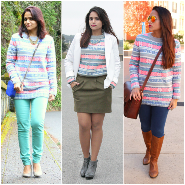 Three Ways To Wear A Fair Isle Sweater, Tanvii.com