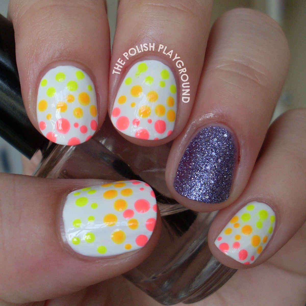 Neon Spotted Nail Art with Texture Accent