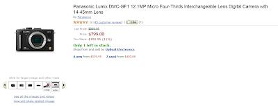 Videata da Amazon con la Panasonic GF1 in vendita a 799$