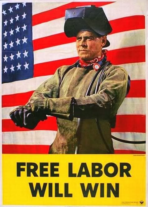 Unique Labor Day Posters Pictures: A Man In Front Of American Flag With Slogan Free Labor Will Win On Labor Day Poster