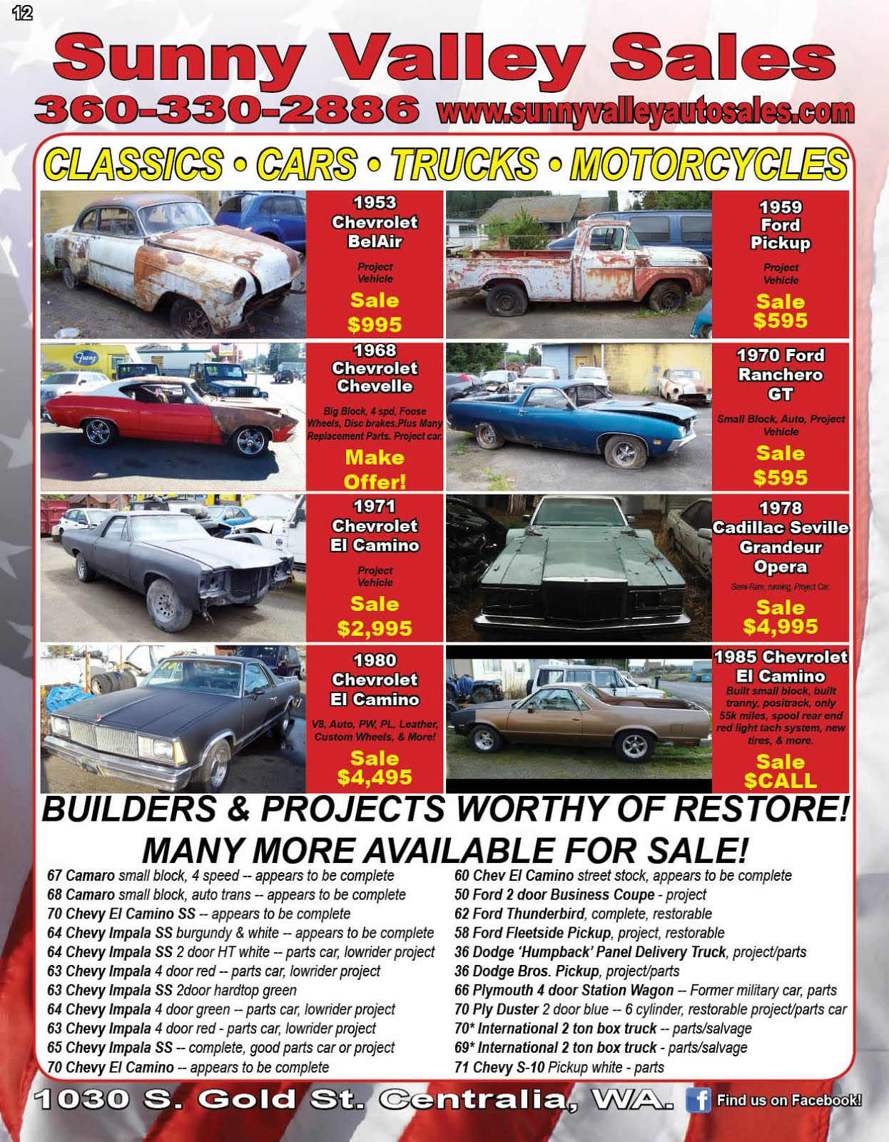 Sunny Valley Sales Used Jeeps, Trucks, Cars, Motorcycles, ATVs, Classics, More!!