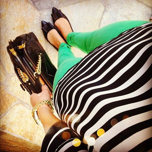 black and white striped shirt, colored jeans, black flats