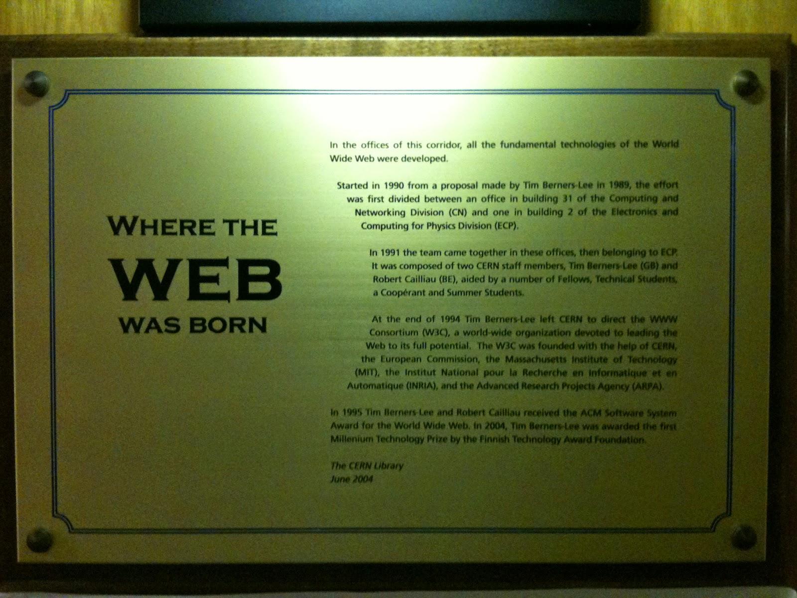 で始まっていると思いますが、そのWWWについてです。全世界で当然のように使われているWorld Wide Web (WWW) はCERNでイギリスの科学者Tim  Berners,Leeによって1989年