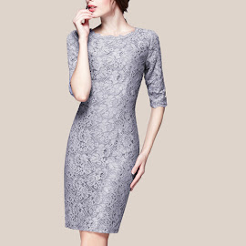 Half Sleeve Pearl Gray Embroidery Lace Dress