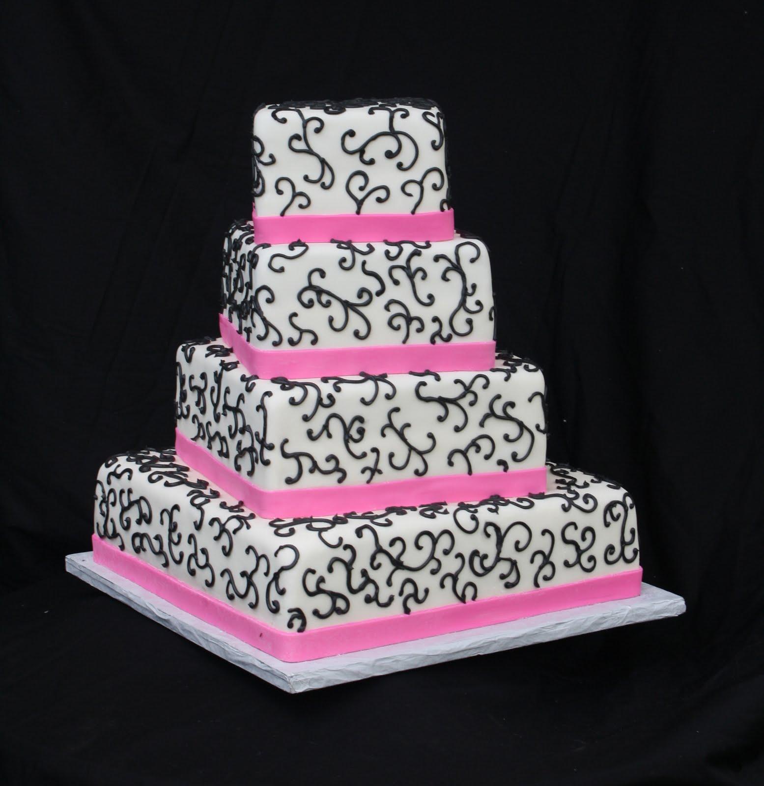 Hot Pink & Black Wedding Cake