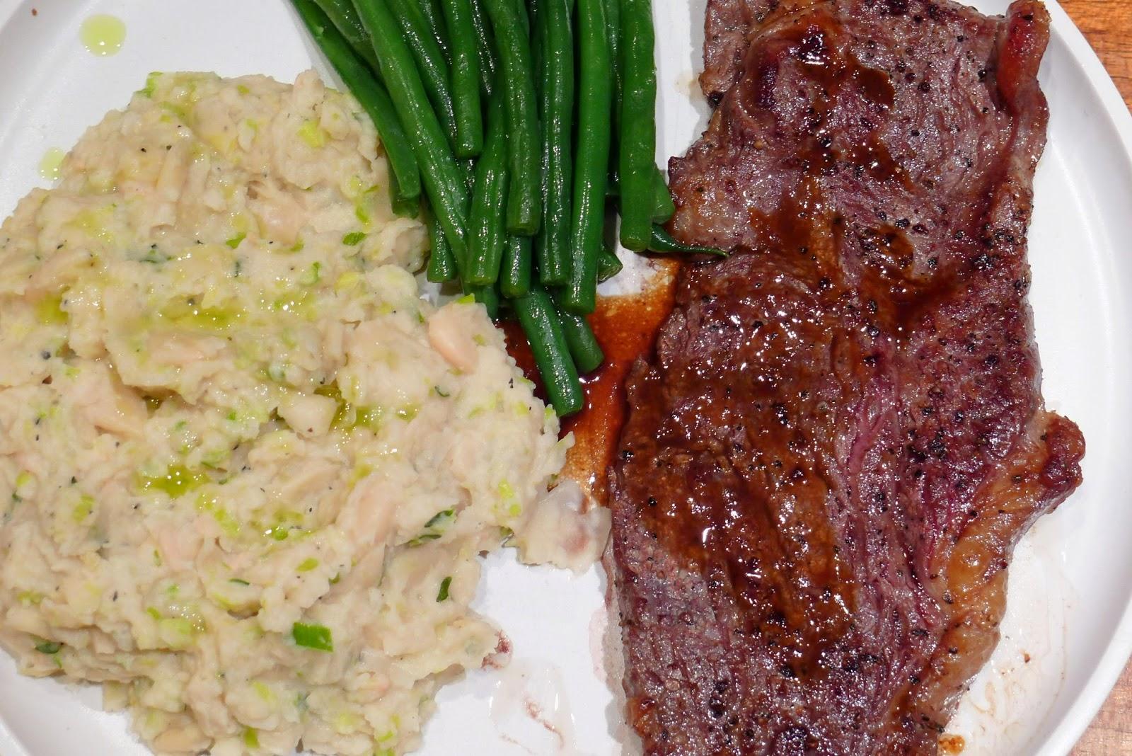 ... Adventures in London: Sirloin Steak with White Bean & Leek Mash