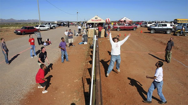 Play volleyball at the U.S./Mexico border