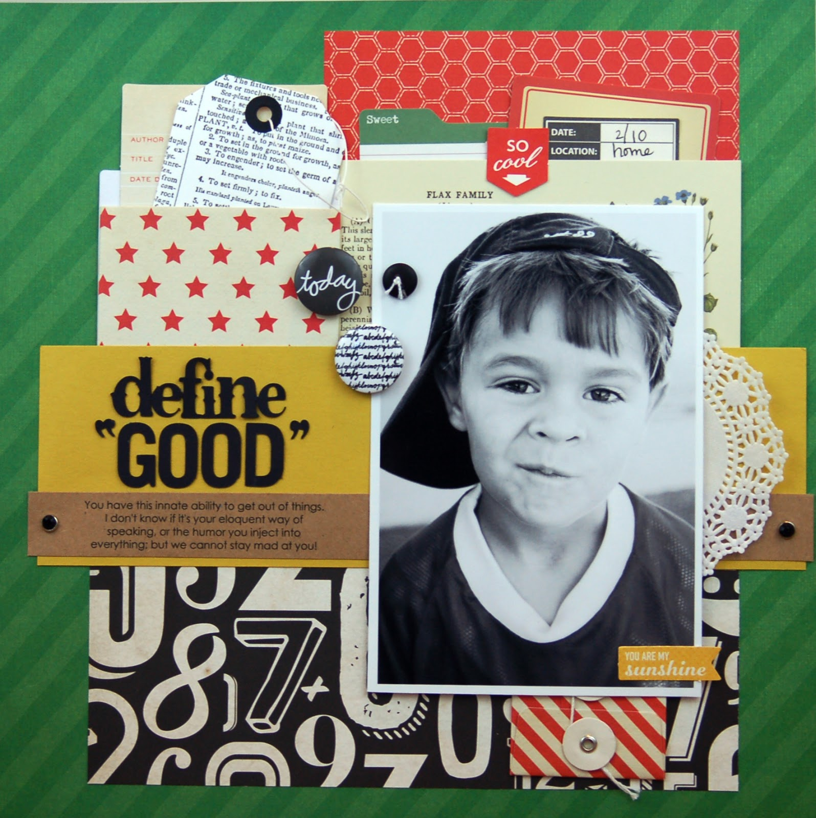 Define Good Scrapbooking Process Video and Layout by Jen Gallacher found at www.jengallacher.com