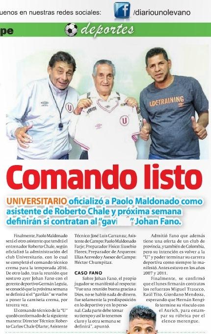 Universitario de Deportes  Antonio Gonzales se aferra a la  U . Antonio  Gonzales finaliza contrato con ... 8ee28e717ea8f