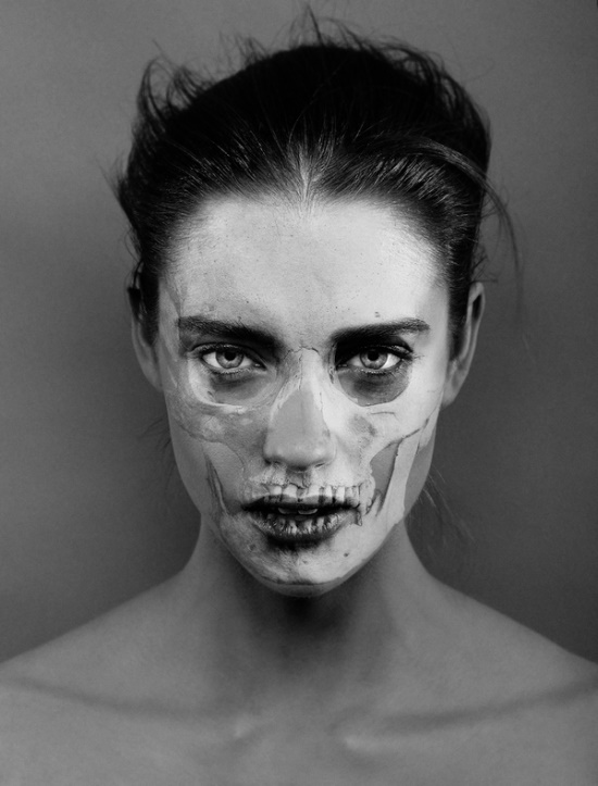 Photographer carsten witte are a frighteningly realistic visual illusion as the delicate details of a human skull are etched into young womens faces