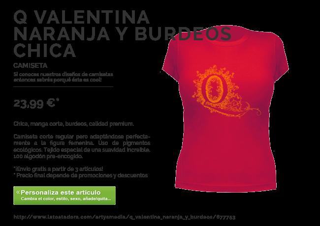Camiseta Q Valentina Naranja y Burdeos